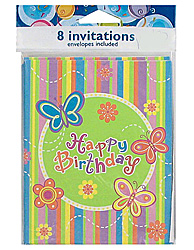 Colorful butterfly Happy Birthday party invitations #KI543