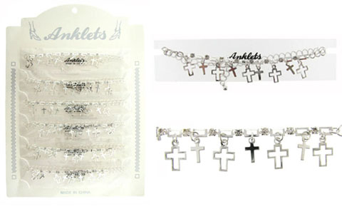 Silvertone Anklet With Cross Charms AN5367A