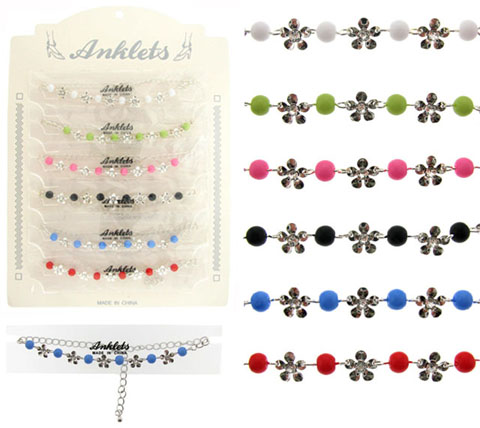 Silvertone Anklet With Flower Charms AN5379A