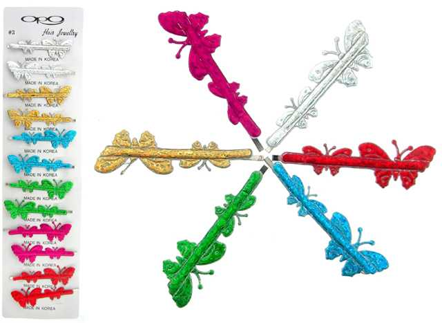 Silver, Assorted Color Butterfly Bobby Pins (BP169S)