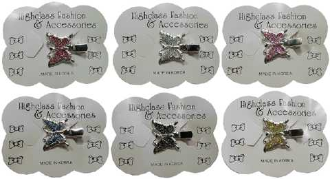 Assorted Silvertone & Glitter Butterfly Hair Clip HB120A