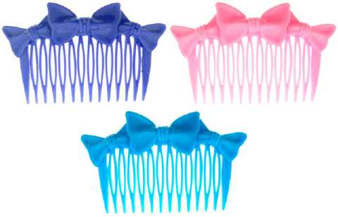 Assorted Color Bow Hair Combs HC13977