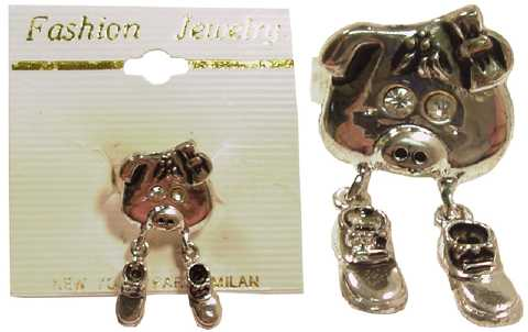 Silvertone Pig With Dangling Shoes Ring R9458A