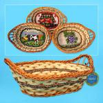Oval Bamboo Basket with Fabric Base - Assorted