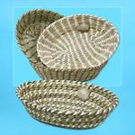 Straw and Plastic Oval Basket 14.25